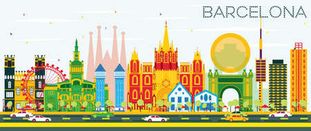 Barcelona Skyline with Color Buildings and Blue Sky. Vector Illustration. Business Travel and Tourism Concept with Historic Buildings. Image for Presentation Banner Placard and Web Site.