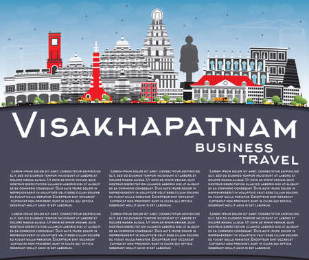 A Visakhapatnam Skyline with Gray Buildings, Blue Sky and Copy Space. Vector Illustration. Business Travel and Tourism Concept with Historic Architecture. Image for Presentation Banner Placard and Web Site.