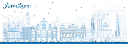 Outline Amritsar Skyline with Blue Buildings. Vector Illustration. Business Travel and Tourism Concept with Historic Architecture. Image for Presentation Banner Placard and Web Site.