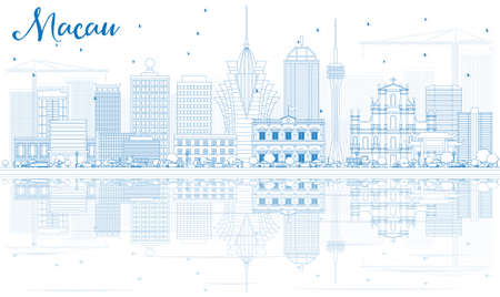 Outline Macau Skyline with Blue Buildings and Reflections. Vector Illustration. Business Travel and Tourism Concept with Modern Architecture. Image for Presentation Banner Placard and Web Site.