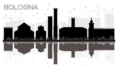 光が反射してボローニャ市黒と白のスカイライン シルエット。ベクトルの図。ランドマークと都市の景観