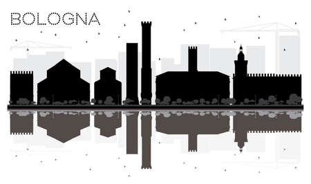 Bologna City skyline black and white silhouette with Reflections. Vector illustration. Cityscape with landmarks