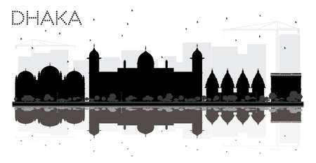tree isolated: Dhaka City skyline black and white silhouette with reflections. Vector illustration. Cityscape with landmarks.