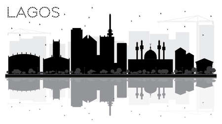 Lagos City skyline black and white silhouette with reflections. Vector illustration. Cityscape with landmarks.
