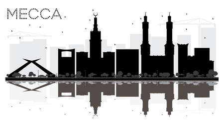 Mecca City skyline black and white silhouette with reflections. Vector illustration. Cityscape with landmarks.