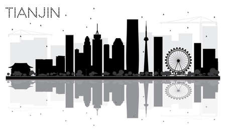 Tianjin City skyline black and white silhouette with reflections. Vector illustration. Cityscape with landmarks. Illustration