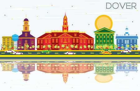 Dover Skyline with Color Buildings, Blue Sky and Reflections. Vector Illustration. Business Travel and Tourism Concept with Historic Buildings. Image for Presentation Banner Placard and Web Site.