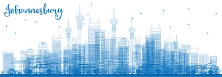 Outline Johannesburg Skyline with Blue Buildings. Vector Illustration. Business Travel and Tourism Concept with Johannesburg Modern Buildings. Image for Presentation and Banner. Stock Vector - 80572493