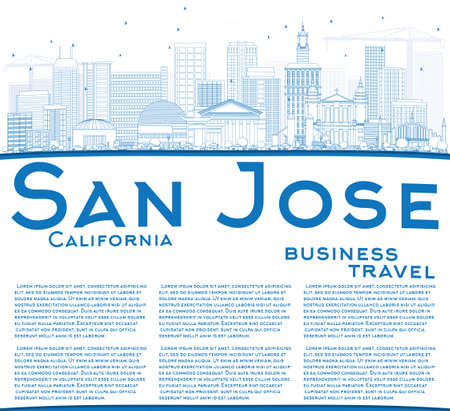 jose: Outline San Jose California Skyline with Blue Buildings and Copy Space. Vector Illustration. Business Travel and Tourism Concept with Modern Architecture. Image for Presentation Banner Placard and Web Site. Illustration