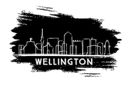 Wellington Skyline Silhouette. Hand Drawn Sketch. Vector Illustration. Business Travel and Tourism Concept with Modern Architecture. Image for Presentation Banner Placard and Web Site.
