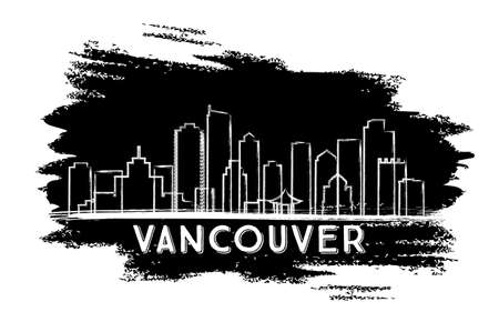 Vancouver Skyline Silhouette. Hand Drawn Sketch. Vector Illustration. Business Travel and Tourism Concept with Modern Architecture.