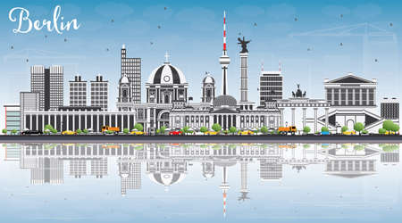 Berlin Skyline with Gray Buildings, Blue Sky and Reflections. Vector Illustration. Business Travel and Tourism Concept with Historic Architecture. Фото со стока - 80778740