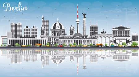 Berliner Skyline mit grauen Gebäuden, blauer Himmel und Reflexionen. Vektor-Illustration. Geschäftsreise und Tourismuskonzept mit historischer Architektur. Standard-Bild - 80778740