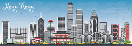 Hong Kong Skyline with Gray Buildings and Blue Sky. Vector Illustration. Business Travel and Tourism Concept with Modern Architecture.