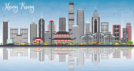 Hong Kong Skyline with Gray Buildings, Blue Sky and Reflections. Vector Illustration. Illustration