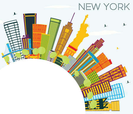 New York Skyline with Color Buildings, Blue Sky and Copy Space. Vector Illustration. Illustration