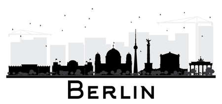 Berlin City skyline black and white silhouette. Simple flat concept for tourism presentation, banner, placard or web site. Illustration