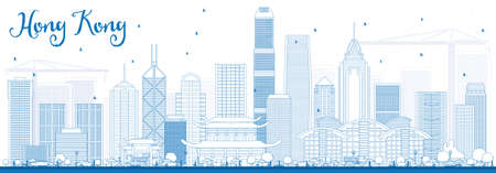 Outline Hong Kong Skyline with Blue Buildings. Vector Illustration. Business Travel and Tourism Concept with Modern Architecture. Illustration