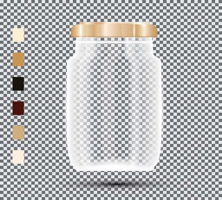 Glass Jar on Transparent Background. Vector Illustration. Ilustração