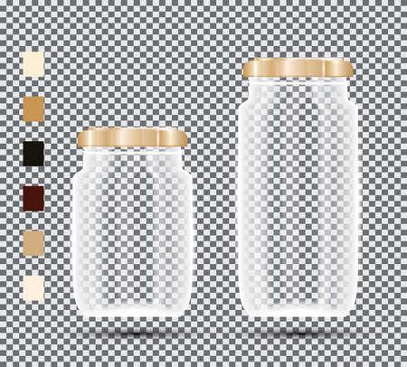 Glass Jars on Transparent Background. Vector Illustration.