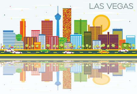色の建物、青空の反射とラスベガスのスカイライン。ベクトルの図。ビジネス旅行と観光概念と近代建築。プレゼンテーション バナー プラカードと