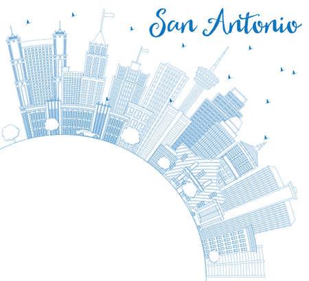Skizzieren Sie San Antonio Skyline mit blauen Gebäuden und Textfreiraum. Vektor-Illustration. Geschäftsreise- und Tourismuskonzept mit moderner Architektur. Bild für Presentation Banner Placard und Website. Standard-Bild - 80818094