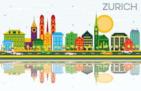 色の建物、青空の反射とチューリッヒのスカイライン。ベクトルの図。ビジネス旅行と観光コンセプト チューリッヒ歴史的建造物と。プレゼンテー
