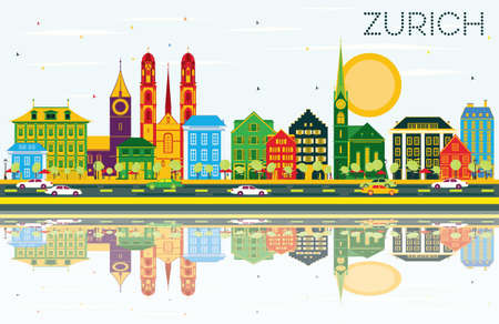 Zurich Skyline with Color Buildings, Blue Sky and Reflections. Vector Illustration. Business Travel and Tourism Concept with Zurich Historic Buildings. Image for Presentation Banner Placard and Web.