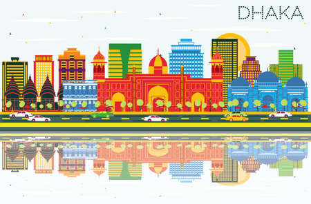Dhaka Skyline with Color Buildings, Blue Sky and Reflections. Vector Illustration. Business Travel and Tourism Concept with Historic Buildings. Image for Presentation Banner Placard and Web Site.