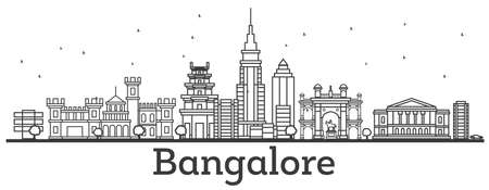 Outline Bangalore Skyline with Historic Buildings. Vector Illustration.