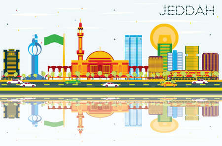 Jeddah Skyline with Color Buildings, Blue Sky and Reflections. Vector Illustration. Business Travel and Tourism Concept with Modern Buildings. Image for Presentation Banner Placard and Web Site. Çizim