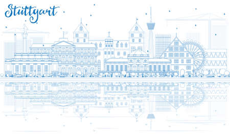 stuttgart: Outline Stuttgart Skyline with Blue Buildings and Reflections. Vector Illustration. Business Travel and Tourism Concept with Historic Architecture. Image for Presentation Banner Placard and Web Site. Illustration