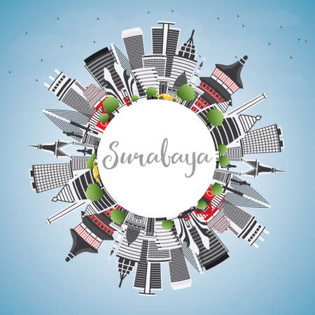Surabaya Skyline with Gray Buildings, Blue Sky and Copy Space. Vector Illustration. Business Travel and Tourism Concept with Modern Architecture. Image for Presentation Banner Placard and Web Site.