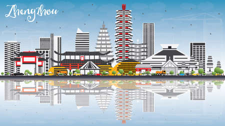 Zhengzhou Skyline with Gray Buildings, Blue Sky and Reflections. Vector Illustration. Business Travel and Tourism Concept with Modern Architecture. Image for Presentation Banner Placard and Web Site.  イラスト・ベクター素材