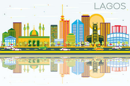 Lagos Skyline with Color Buildings, Blue Sky and Reflections. Vector Illustration. Business Travel and Tourism Concept with Modern Buildings. Image for Presentation Banner Placard and Web Site.