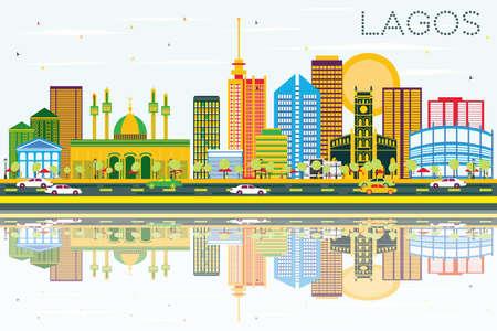 Lagos Skyline mit Farbgebäuden, blauem Himmel und Reflexionen. Vektor-Illustration. Geschäftsreise- und Tourismuskonzept mit modernen Gebäuden. Bild für Presentation Banner Placard und Website. Standard-Bild - 81139371