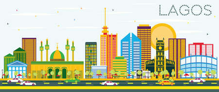 Lagos Skyline with Color Buildings and Blue Sky. Vector Illustration. Business Travel and Tourism Concept with Modern Buildings. Image for Presentation Banner Placard and Web Site.