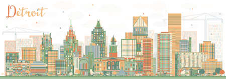Abstract Detroit Skyline with Color Buildings. Vector Illustration. Business Travel and Tourism Concept with Modern Architecture. Image for Presentation Banner Placard and Web Site.
