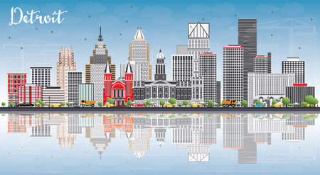 Detroit Skyline with Gray Buildings, Blue Sky and Reflections. Vector Illustration. Business Travel and Tourism Concept with Modern Architecture. Image for Presentation Banner Placard and Web Site.