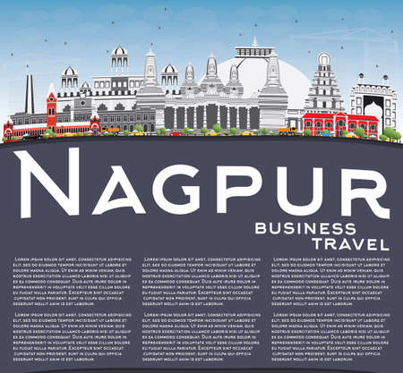 nagpur: Nagpur Skyline with Gray Buildings, Blue Sky and Copy Space. Vector Illustration. Business Travel and Tourism Concept with Historic Architecture. Image for Presentation Banner Placard and Web Site.