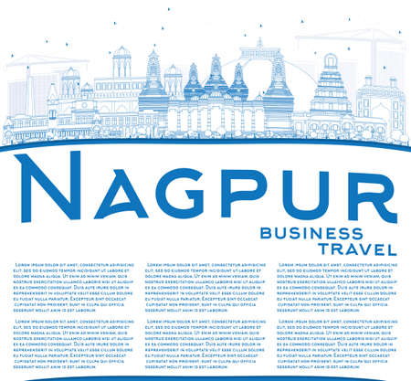 nagpur: Outline Nagpur Skyline with Blue Buildings and Copy Space. Vector Illustration. Business Travel and Tourism Concept with Historic Architecture. Image for Presentation Banner Placard and Web Site. Illustration