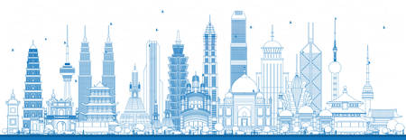 Outline Famous Landmarks in Asia. Vector Illustration. Business Travel and Tourism Concept. Image for Presentation, Banner, Placard and Web Site Illustration