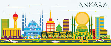 Ankara Skyline with Color Buildings and Blue Sky. Vector Illustration. Business Travel and Tourism Concept with Historic Buildings. Image for Presentation Banner Placard and Web Site. Illustration