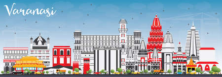 Varanasi Skyline with Color Buildings and Blue Sky. Vector Illustration. Business Travel and Tourism Concept with Historic Architecture. Image for Presentation Banner Placard and Web Site.