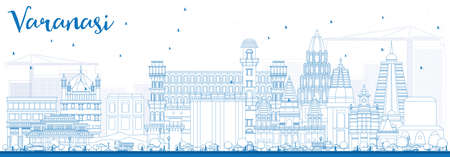 Outline Varanasi Skyline with Blue Buildings. Vector Illustration. Business Travel and Tourism Concept with Historic Architecture. Image for Presentation Banner Placard and Web Site.