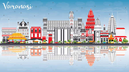 Varanasi Skyline with Color Buildings, Blue Sky and Reflections. Vector Illustration. Business Travel and Tourism Concept with Historic Architecture. Image for Presentation Banner Placard and Web Site.