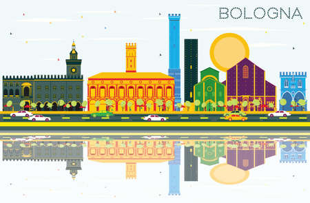 Bologna Skyline with Color Landmarks, Blue Sky and Reflections. Vector Illustration.
