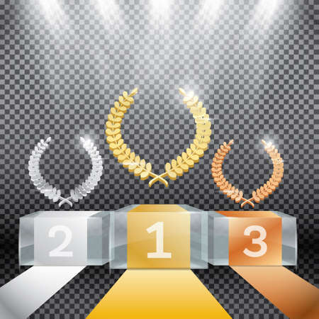 Glass Winner Podium with Spotlights and Laurel Wreath on Transparent Background. Vector Illustration.