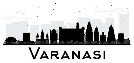 Varanasi City skyline black and white silhouette. Vector illustration. Simple flat concept for tourism presentation, banner, placard or web site. Cityscape with landmarks.