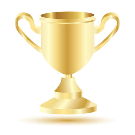 Golden Winner Cup Isolated on White Background. Vector Illustration.